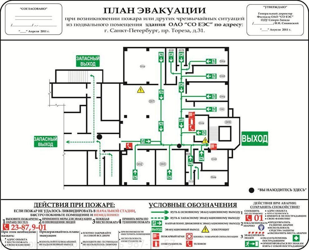 схемы эвакуации примеры